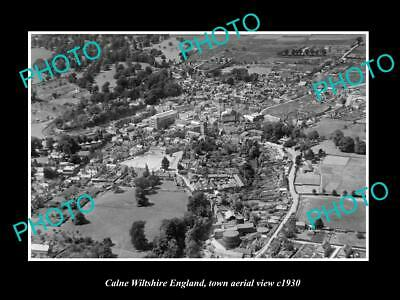 OLD LARGE HISTORIC PHOTO OF CALNE WILTSHIRE ENGLAND, TOWN AERIAL VIEW c1930 1