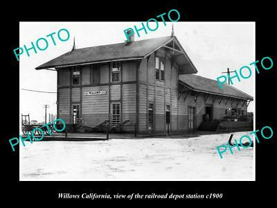 OLD LARGE HISTORIC PHOTO WILLOWS CALIFORNIA RAILROAD DEPOT STATION c1900
