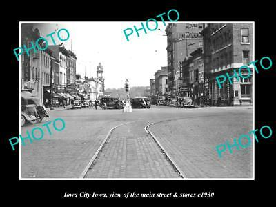 OLD LARGE HISTORIC PHOTO OF IOWA CITY IA, VIEW OF THE MAIN St & STORES c1930