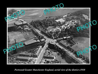 OLD LARGE HISTORIC PHOTO PORTWOOD MANCHESTER ENGLAND, DISTRICT AERIAL VIEW c1930