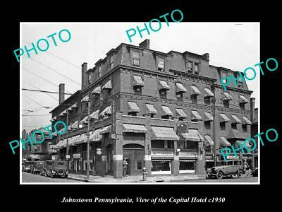 OLD LARGE HISTORIC PHOTO JOHNSTOWN PENNSYLVANIA, THE CAPITOL HOTEL c1930