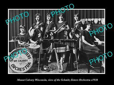 OLD LARGE HISTORIC PHOTO OF MOUNT CALVARY WISCONSIN, SCHMITZ SISTERS BAND c1930