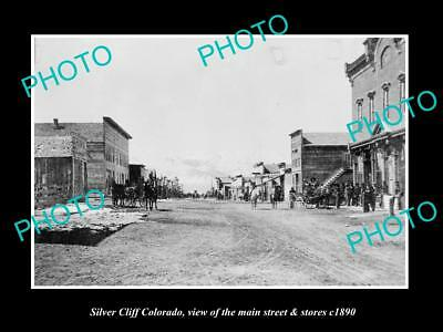 Old Large Historic Photo Of Silver Cliff Colorado, The Main Street & Stores 1890