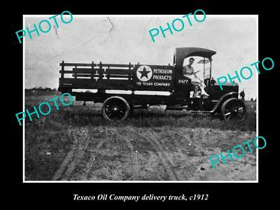 OLD LARGE HISTORIC PHOTO OF TEXACO OIL COMPANY DELIVERY TRUCK c1912