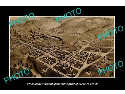 OLD LARGE HISTORIC PHOTO OF LYNDONVILLE VERMONT, PANORAMA OF THE TOWN c1890