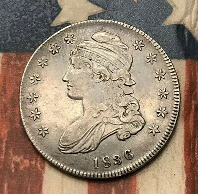 1836 50C Capped Bust Half Dollar 90% Silver Vintage US Coin #EB1 Very Sharp WOW