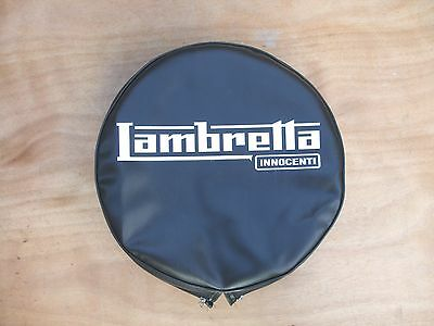 "Lambretta  Spare Wheel Cover  ""black"" With Logo - Brand New"