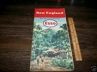 Vintage 1950s ESSO New England Road Map with pictoral guide