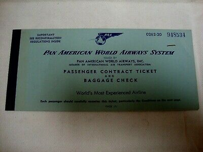 Pan American Pan Am World Airways System Passenger Ticket And Baggage Check.