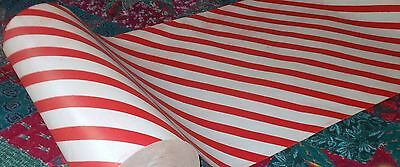 Vtg Store Christmas Wrapping Paper Gift Wrap 2 Yards Candy Cane Stripe Post Ww2