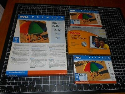 """Vintage 234 Sheets Of """"Dell"""" & """"Kodak"""" Premium Photo Paper In 4 Packages"""
