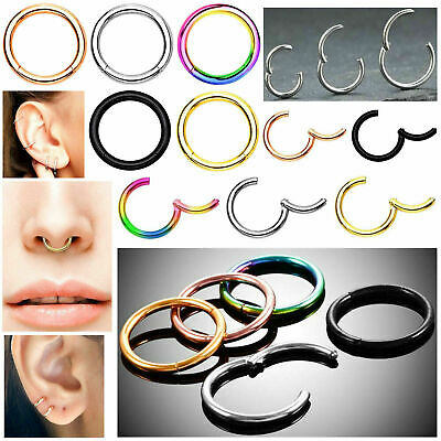 Surgical Steel Septum Clicker Nose Ring Hinge Segment Ear Helix Tragus Ring Hoop