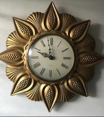 Art Deco SUNBURST Gilt SMITHS  Wall Clock 1930s
