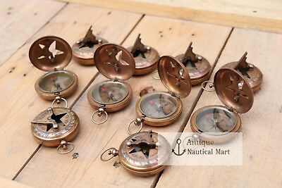 Lot Of 50 Pcs Antique Brass Sundial Push Button Compass