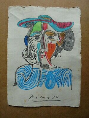 PABLO PICASSO   drawing on original paper   -  signed -   --