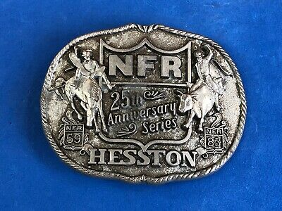 Vintage Men's 'NFR 25th Anniversary Series Hesston' Rodeo Belt Buckle