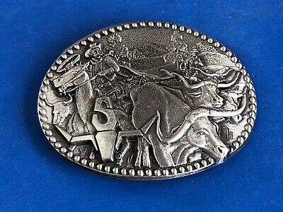 Zee Series Western Cattle Drive Longhorn Roping Pewter Belt Buckle ADM