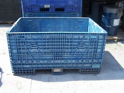 "48""x70""x34"" PLASTIC COLLASPABLE STACKABLE FOLDING GAYLORD SHIPPING CRATES"