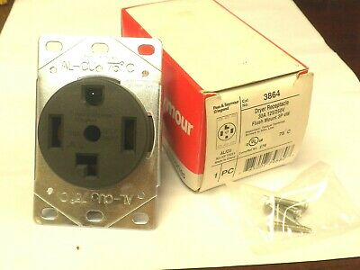 Pass & Seymour legrand 3864 Dryer RECEPTACLE 30A 125/250V 3-POLE NIB (LOT of 5)