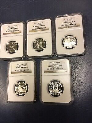 2001-S Ngc Pf70Ucam State Quarters 5 Coin Silver Set