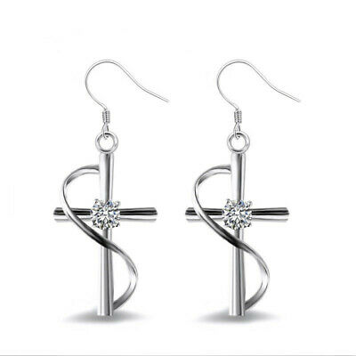 New Women Fashion 925 Sterling Silver Plated Zircon Cross Dangle Hook Earrings