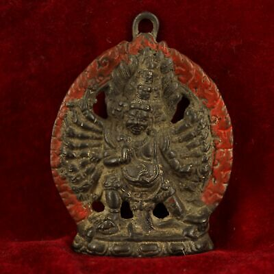 China old Antique Tibet copper handmade Yamataka statue Buddha pendant