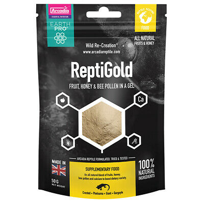 Arcadia Earth Pro Jellypot Gold, Repti Gold, 50g for Crested Geckos, Day Geckos