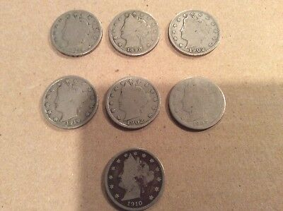 lot of 7 liberty head nickels
