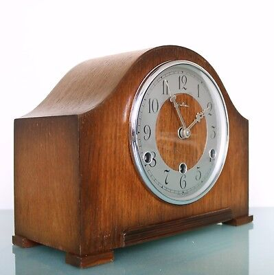 Vintage UK BENTIMA PERIVAL Mantel Clock WESTMINSTER! Chime! Mid Century RESTORED