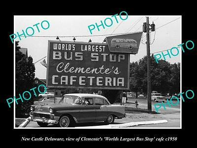 OLD LARGE HISTORIC PHOTO OF NEW CASTLE DELAWARE, WORLDS LARGEST BUS STOP c1950