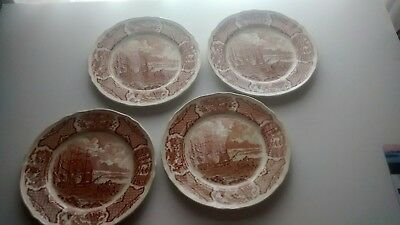 "Alfred Meakin Brown Fair Winds China 8"" Salad Plates set of four"