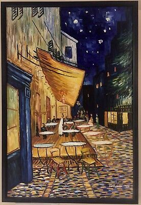 $1250.00 Cafe Terrace at Night by Vincent Van Gogh Framed Painting Print Walter