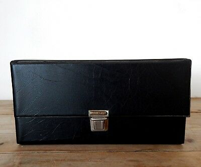 Vintage Retro Audio Cassette Tape Storage Box Case - Black #B