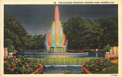 Hershey Pennsylvania~Hershey Park~Electric Fountain~1940s Postcard