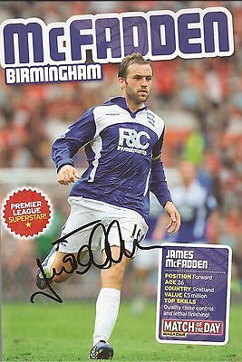 BIRMINGHAM: JAMES McFADDEN SIGNED A4 (12x8) BOOK/ANNUAL PICTURE+COA