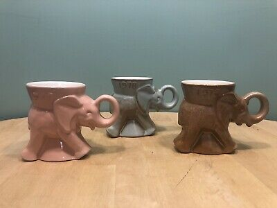 Lot of 3 Frankoma GOP Elephant Mugs 1977-79