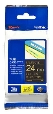 Brother TZE354 Laminated tape 24mm Labels Gold on black x 8m