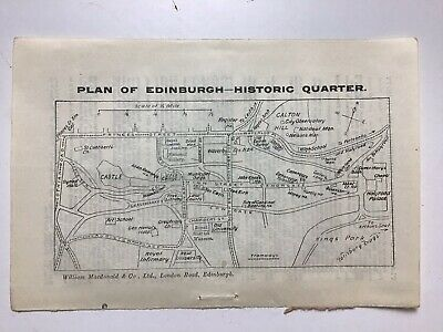 Edinburgh Historic Quarter , c1925 Vintage Sketch Plan, Map, Street