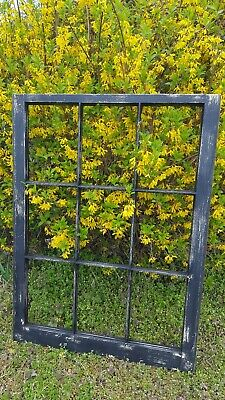 Vintage Sash Antique Wood Window Frame Pinterest 33X28 Distressed Black 9 Pane