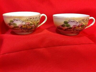 Vintage Pair of Hand-painted Asian coffee/tea cups NO saucers