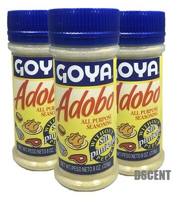 3 Pack Goya  Adobo All Purpose Seasoning Sin Pimienta-Without Pepper 8 oz (226g)