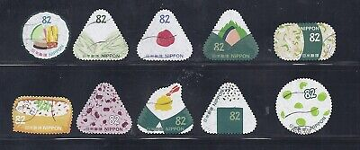 Japan 2017 Food Rice Balls and Sushi 82Y Complete Used Set Sc# 4162 a-j