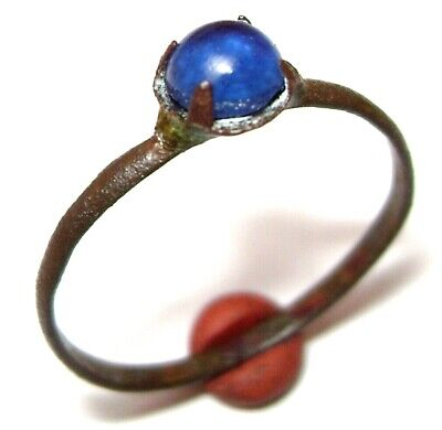 Ancient Post Medieval bronze finger ring with blue stone.