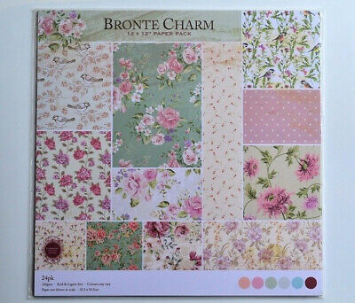 Rare BRONTE CHARM 12 X 12 PAPER PACK 12 DESIGNS/24 SHEETS