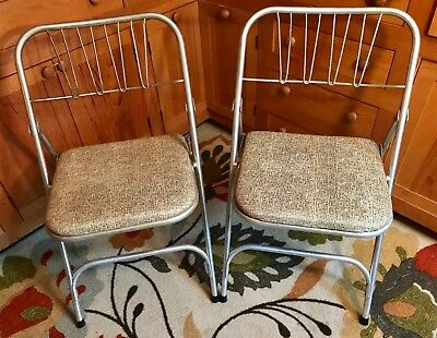"PAIR Vintage Airlite Aluminum Corp Mid-Century Modern Folding Chairs 31.5"" x 18"""