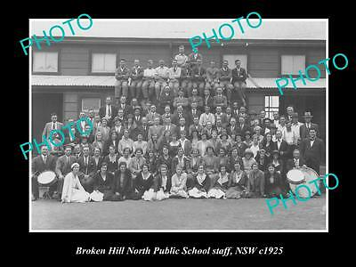OLD LARGE HISTORIC PHOTO OF BROKEN HILL Nth PUBLIC SCHOOL STAFF 1925 NSW