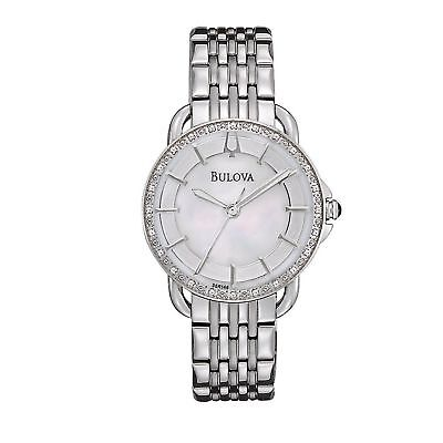 Bulova Women's 96R146 Quartz Diamond Accents Silver-Tone Bracelet 30mm Watch