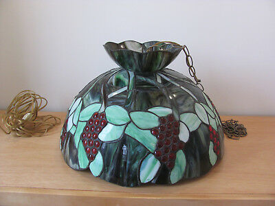 ANTIQUE Tiffany Style Stained Glass Ceiling Light Fixture Chandelier Red Grapes
