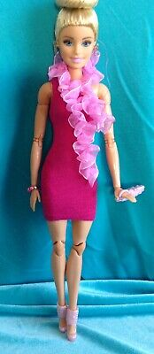 Barbie Doll Clothing Lot: Pink Party Dress, Tulle Scarf, Shoes, Clutch, Bracelet