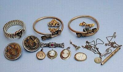 Antique Vtg Victorian Jewelry Gold Filled Brass Cameo Bracelet Brooch Button Lot